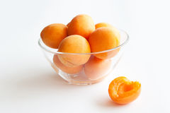Apricots in a glass bowl Royalty Free Stock Image