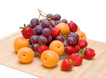 Apricots, grapes and strawberries Royalty Free Stock Photos