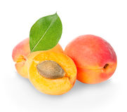 Apricots isolated on a white Royalty Free Stock Photos