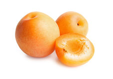Apricots isolated on white background. Apricots. Ripe fresh apricots isolated on white background. Apricot in a cut Stock Images
