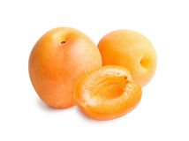 Apricots isolated on white background. Apricots. Ripe fresh apricots isolated on white background. Apricot in a cut Stock Photos