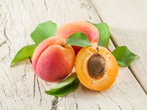 Apricots and its cross-section. Stock Image