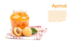 Apricots. And jam isolated on white background stock images