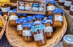 Apricots and lavender jam for sale at local street market. Provence. France royalty free stock photos