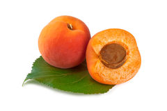 Apricots with leaf isolated on white Stock Photos
