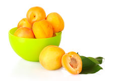 Apricots with leaves isolated Royalty Free Stock Image