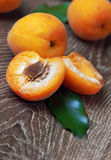 Apricots with leaves Stock Images