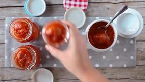 Apricots Marmalade Jars stock video footage