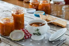 Apricots Marmalade And Rusks Royalty Free Stock Images