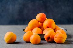 Apricots in a metal pial are stacked royalty free stock photo
