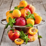 Apricots, nectarines and saturn peaches Stock Images