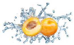 Apricots On Water Splash Royalty Free Stock Image