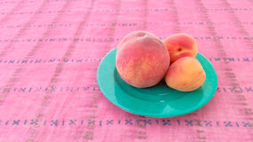 Apricots With Peach in a Plate Stock Image