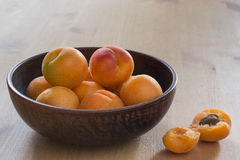 Apricots. In a plate stock images