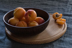 Apricots. In a plate stock photos