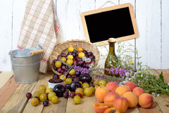 Apricots and  plums on a wooden table Stock Images