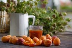 Apricots and pot of jam Stock Photos