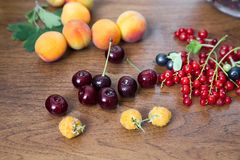 Apricots, red Cherries, Black and Red Currants royalty free stock images