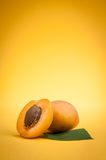Apricots. Ripe apricots on yellow background Royalty Free Stock Image