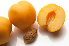 Apricots sliced isolated on white background Royalty Free Stock Photos