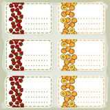 Apricots and strawberries sticker set Royalty Free Stock Photography