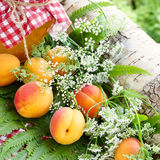 Apricots. Summer still life. A jar of apricot jam and ripe fruit. Forest flowers Stock Photo