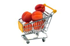 Apricots in a supermarket cart stock images