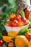 Apricots and sweet cherry Stock Photo