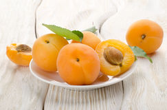 Apricots in a white plate Royalty Free Stock Images