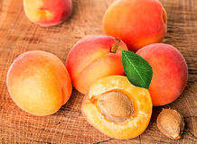 Apricots on the wood Stock Photos