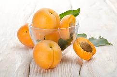 Apricots on a wooden background Stock Photo