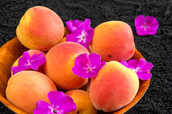 Apricots in a wooden bowl Royalty Free Stock Image