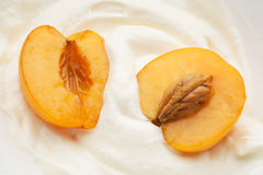 Apricots in yogurt Royalty Free Stock Image
