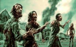 Apriete a los zombis que caminan contra el contexto de la ciudad ardiente libre illustration