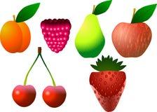 Aprikos, hallon, päron, äpple, körsbär och jordgubbe Royaltyfri Fotografi