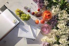 Aprikos och körsbärsröd fruktsaft, aprikors, körsbär och druvor på en solig tabell bredvid en anteckningsbok och en bärbar dator, fotografering för bildbyråer