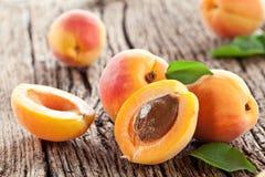 Aprikosar med leaves royaltyfri foto