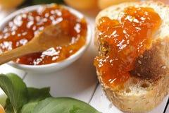 Aprikosdriftstopp och bröd Arkivfoto