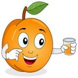 Aprikose, die einen frischen zusammengedrückten Saft hält Stockbilder