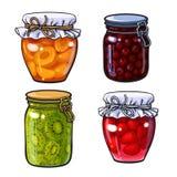 Aprikose, Kirsche, Erdbeere und Kiwi stauen, Marmelade in den traditionellen Gläsern Stockfotos