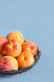 Aprikosen auf der Platte auf konkretem Hintergrund Lizenzfreie Stockfotografie