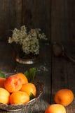 Aprikosen auf der Platte, weiße Blumen, hölzerner Hintergrund Lizenzfreies Stockfoto
