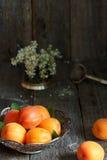 Aprikosen auf der Platte, weiße Blumen, hölzerner Hintergrund Lizenzfreies Stockbild