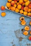 Aprikosen auf Weinleseblatt Stockfotos