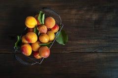 Aprikosen in einem Weinlesekorb Stockfoto