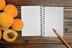 Aprikosen Frucht und Notizblock Lizenzfreie Stockbilder