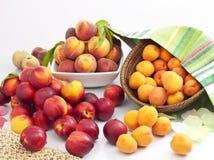 Aprikosen und Pfirsiche auf weißem Hintergrund Lizenzfreies Stockfoto