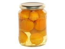 Aprikosenkompott in einem Glasgefäß Lizenzfreie Stockbilder