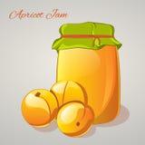 Aprikosenmarmelade in einem Glas und in frischen Aprikosen auf grauem Hintergrund Einfache Karikaturart Auch im corel abgehobenen Lizenzfreies Stockbild