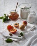 Aprikosenmarmelade mit frischen Aprikosen im Hintergrund Stockfotos